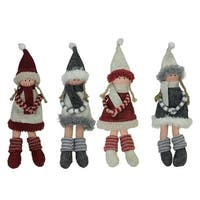 Set of 4 Plush Red Gray and Beige Winter Girls Christmas Doll Ornament Decorations 12""