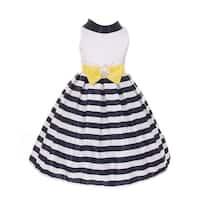 Girls Yellow Bow Satin Navy Stripes Flower Girl Easter Dress 8-12