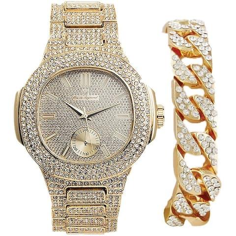 Cuban Bling'd Out Bracelet with Matching Bling Bling Hip Hop Watch.