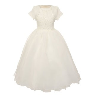 Chic Baby Girls Ivory Bead Sewn Satin Bolero Junior Bridesmaid Dress 8-16 (5 options available)