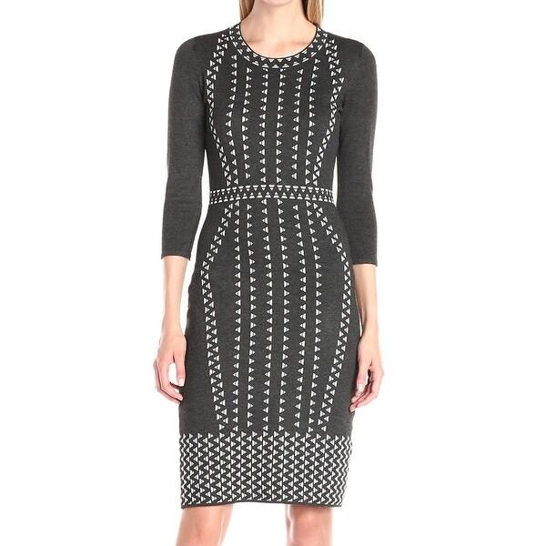 14a2d8b12a0 Taylor NEW Gray Women  x27 s Size Large L Triangle-Print Sweater Dress