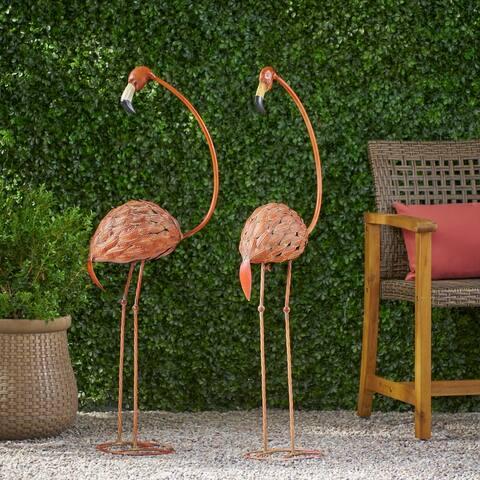 Collyer Outdoor Flamingo Garden Art Decor (Set of 2) by Christopher Knight Home