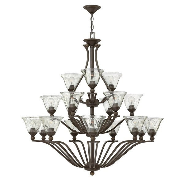 Hinkley Lighting 4659-CL 18-Light 3 Tier Chandelier with Clear Seedy Glass Shades from the Bolla Collection - Olde Bronze
