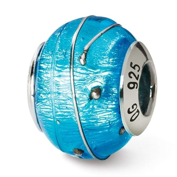 Italian Sterling Silver Reflections Blue/Silver Bead (4mm Diameter Hole)