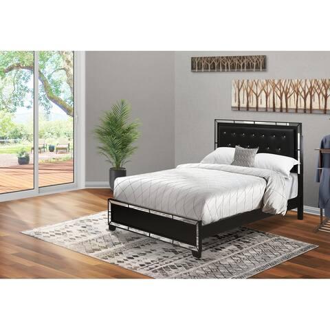 6-Pieces Queen Bedroom Set with Light Up headboard-Queen ,Dresser,Mirror,Chest,2 Nightstand - Black Faux Leather Headboard
