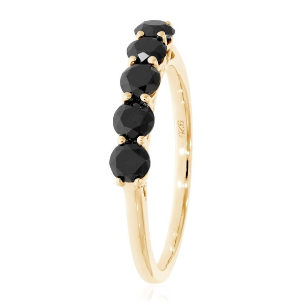 Brand New 1.00 Carat Round Brilliant Cut Black Diamond Five Stone Ring