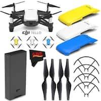 Ryze Tech Tello Quadcopter #CP.PT.00000252.01 + Ryze Tech Snap-On Cover for Tello (Blue) + MicroFiber Cloth Bundle