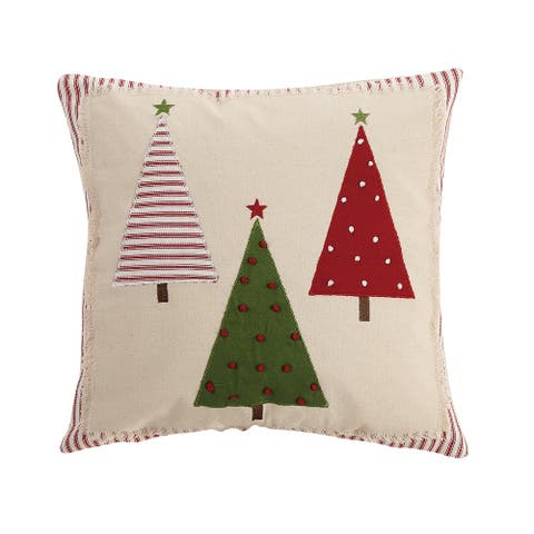 Christmas Tree Applique Decorative Pillow