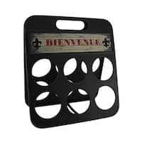 Fleur De Lis Bienvenue Distressed Metal 6 Bottle Wine Holder
