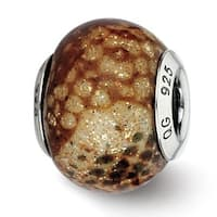 Italian Sterling Silver Reflections Lt Brown Python Glitter Overlay Glass Bead (4mm Diameter Hole)