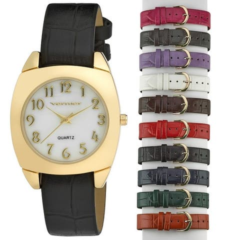 Vernier Women's Mother of Pearl Watch with 10 Interchangeable Straps