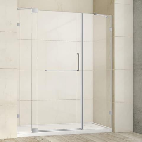 "Milano 66"" W x 72"" H Hinged Frameless Tub Door in Brushed Nickel - 66"" W x 72"" H"