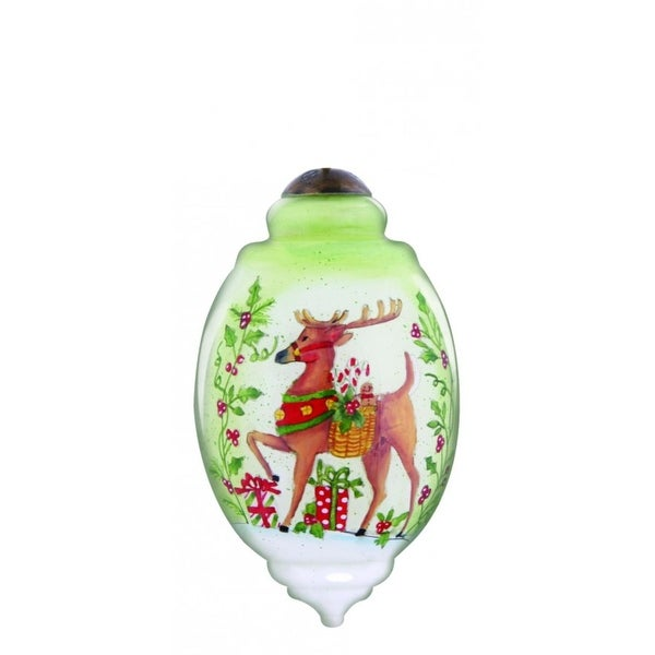 """Ne'Qwa """"Wishes of Joy for Christmas"""" Hand-Painted Blown Glass Christmas Ornament #7131123 - brown"""