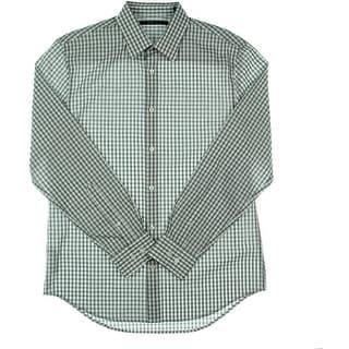 Perry Ellis Mens Checkered Cotton Button-Down Shirt