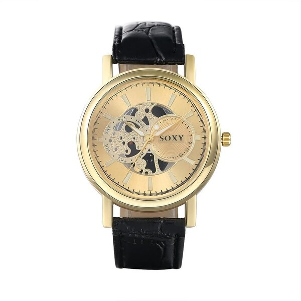 Faux Leather Strap Gold Case Watch