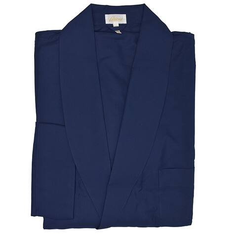 Brioni Mens Solid Navy Belted Robe