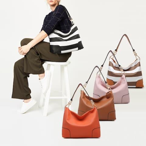 Dasein Fashion Medium Hobo Shoulder Bag with Big Snap Hook
