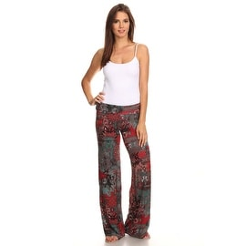 Women's Aztec Burgundy Printed Palazzo Pants Made in US
