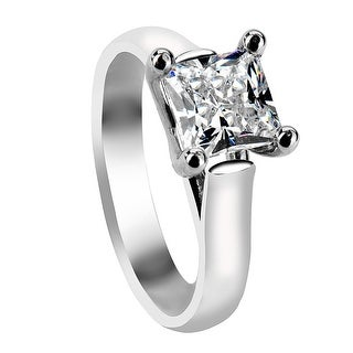 ZARA Four Prong Solitaire Palladium Engagement Ring with Princess Cut Setting - MADE WITH Swarovski elements