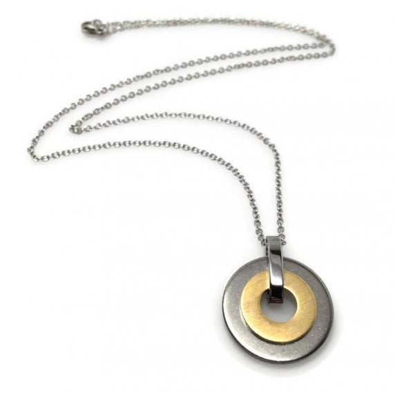 Loralyn Designs Brushed Steel and Brass Circle Necklace