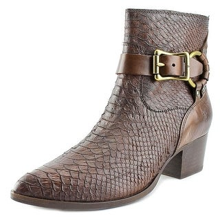 Frye Zoe Ring Short Women Pointed Toe Leather Brown Ankle Boot
