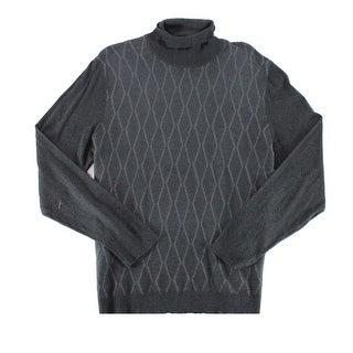Alfani Gray Mens Size 2XL XXL Diamond Texture Turtleneck Sweater