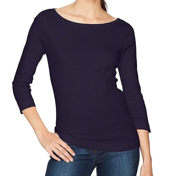 cb0210bfeb782d Shop Three Dots NEW Navy Blue Women's Size Medium M Boat Neck Tee T-Shirt -  Free Shipping On Orders Over $45 - Overstock - 20587368