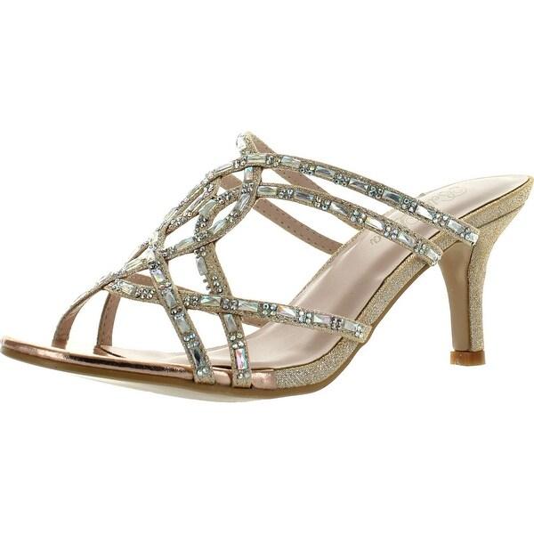Bella Luna Luna-08 Womens Glitter Rhinestone Kitty Heel Dress Sandals