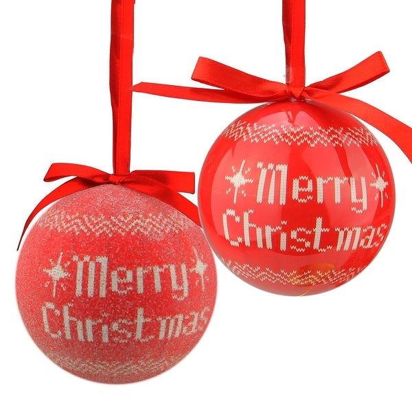 """6-Piece Red and White Nordic-Inspired Decoupage Shatterproof Christmas Ball Ornament Set 2.75"""""""