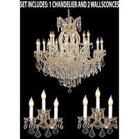 Swarovski Elements 3pc Lighting Set - Maria Theresa Crystal Chandelier and 2 Wall Sconces - Gold