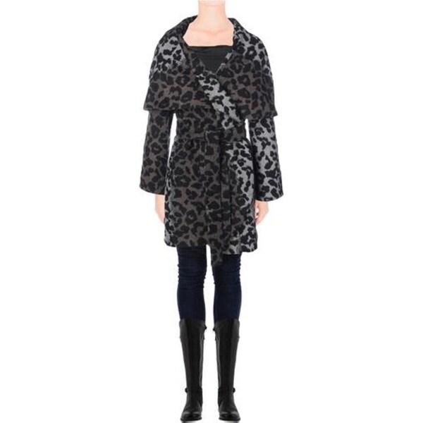 T Tahari Womens Marla Coat Wool Blend Leopard Print