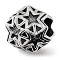 Sterling Silver Reflections Polished Antiqued Star Bead (4.5mm Diameter Hole) - Thumbnail 0