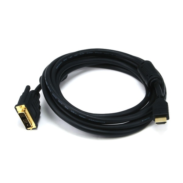 Monoprice 10ft 28AWG High Speed HDMI to DVI Adapter Cable with Ferrite Cores, Black