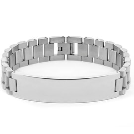 Men's Stainless Steel High Polish ID Link Bracelet (15 mm) - 8.5 in