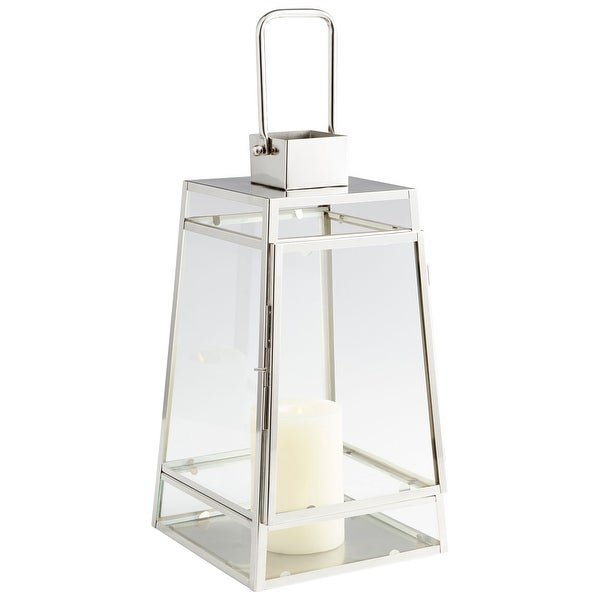 Cyan Design 09746 Paulus Glass and Stainless Steel Lantern Candle Holder - Nickel