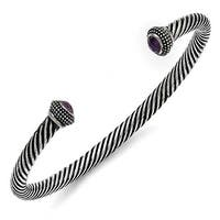 Chisel Stainless Steel Polished/Antiqued Purple CZ Twisted Bracelet
