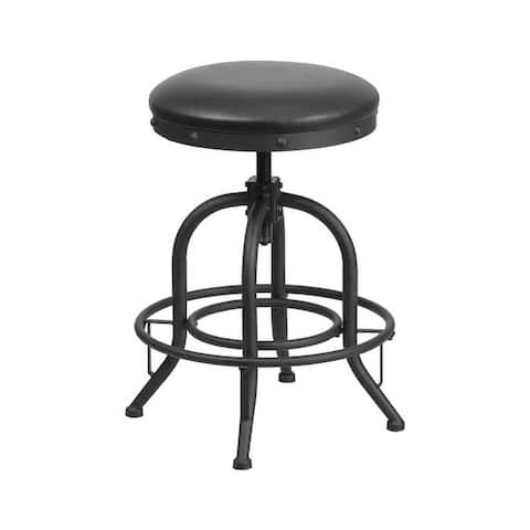 Offex 24'' Counter Height Stool with Swivel Lift Black Leather Seat