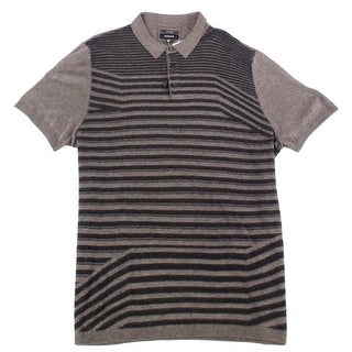 Alfani Brown Mens 2XL Stripe Texture Silk Blend Knit Polo Shirt
