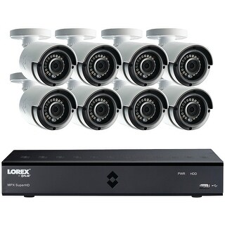 Lorex By Flir 4MP Super HD 8 Channel 2TB DVR/8 IR CAM Security System - White