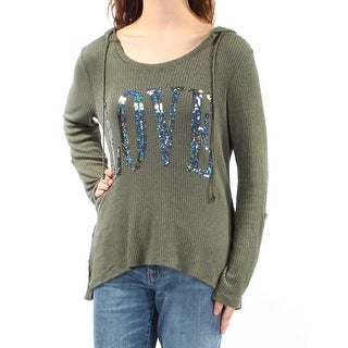 MISS CHIEVOUS Womens 1768 Green Love Sequined Hooded Sweater M Juniors B+B