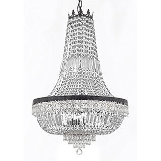 French Empire Crystal Chandelier With Dark Antique Finish - Black