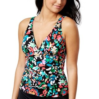 Swim Solutions Womens Color Take Floral Print Tankini Top 12 Multi Swimsuit