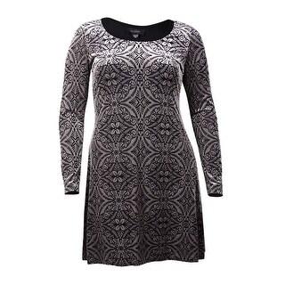 Karen Kane Women's Textured Long Sleeve Dress (L, Black) - l