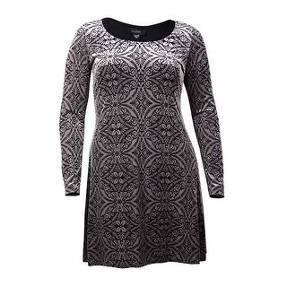 Karen Kane Women's Textured Long Sleeve Dress (L, Black) - Black - l