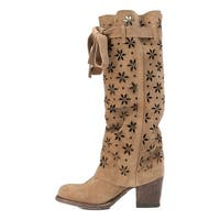 Miss Macie Fashion Boots Womens It's A Wrap Laser Cut Beige