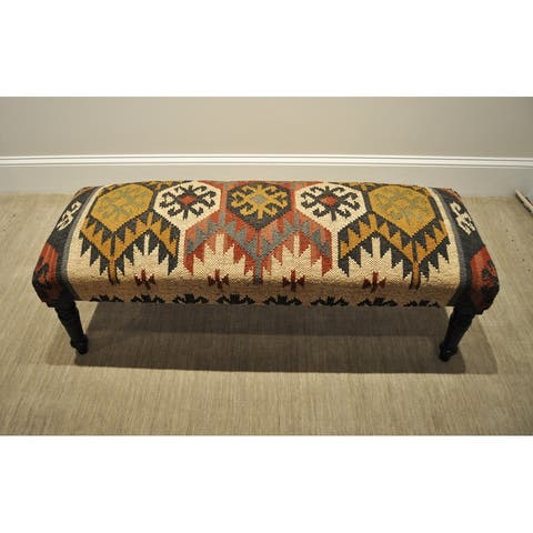 """Handmade Kilim Upholstered Wooden Bench (India) - 47"""" W x 15"""" L x 17"""" H"""