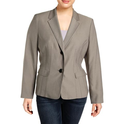 Le Suit Womens Two-Button Blazer Textured Office
