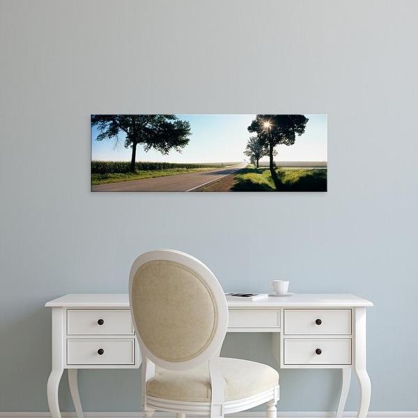 Easy Art Prints Panoramic Images's 'Road passing through fields, Illinois Route 64, Illinois, USA' Premium Canvas Art