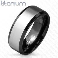 Solid Titanium Black IP Interior Beveled Edge with Brushed Finish Center Two Tone Ring (Sold Ind.)