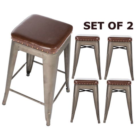 "Industrial Distressed Faux leather upholstered 24"" backless barstools Set of 4 with Footrest"